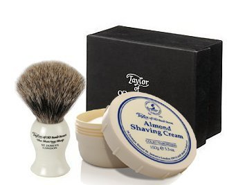ALMOND - Taylor of Old Bonds Street Pure Badger Brush & Cream Set *Luxury Ivory brush with Almond Shaving Cream by Taylor of Old Bond Street