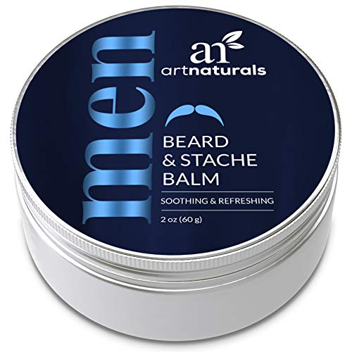 ArtNaturals Mustache and Beard Balm - (2 Oz / 60g) - Natural Hair Wax Oil Leave In Conditioner that Soothes Itching, Thickens, Strengthens, Softens, Tames and Styles Facial Hair Growth