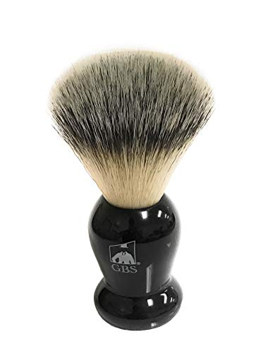 """GBS Classic Synthetic Shaving Brush Bristles 21 MM Knot 100 mm (4"""" Tall) -Animal Free Vegan Brush- Super Soft with Black Resin Handle - Compliments and Razor for Ultimate Wet Shaving"""