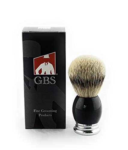 """GBS Silver-tip Badger Bristle Brush 4.5"""" Tall 23 mm Knot - Resin Black Handle Comes with Stand for Storage Pair with your Favorite cream or Soap"""