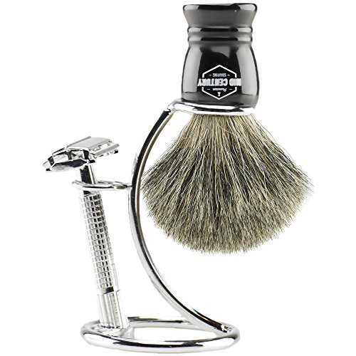 MCS Premium Safety Razor Shaving Kit: Complete Wet Shave Set w/Double Edge Razor, Pure Badger Brush, Heavy Chrome Stand, Travel Case, Extra Blades & Gift Box (Black)