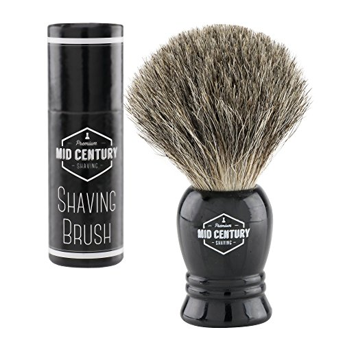 Mid Century Shaving Brush - Pure Badger Hair - Resin Handle For an Amazing Wet Shave Experience (Black)