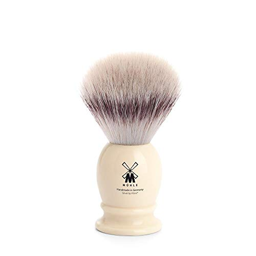 MUEHLE Shaving Brush with Fiber, Handle Material High Grade Resin Ivory, 1 Pound
