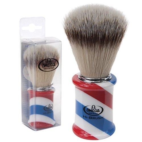 Omega Hi Brush Barber Pole Shaving Shave Soft High Tech Synthetic Fibers Brush-Vegan