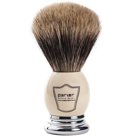"Parker Safety Razor 100%""Extra Dense"" Best Badger Bristle Shaving Brush with White & Chrome Handle - Free Brush Stand Included"