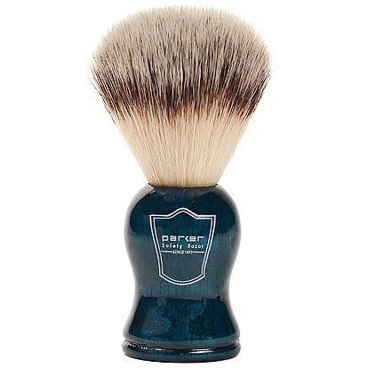 Parker Safety Razor Synthetic Bristle Shaving Brush with Blue Wood Handle - Brush Stand Included