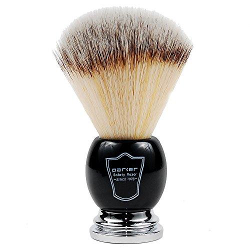 Parker's Deluxe Synthetic Silvertip Shaving Brush, Black & Chrome Handle, 22mm Knot, Animal Free
