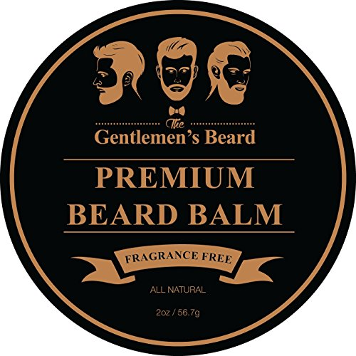 The Gentlemen's Premium Beard Balm - Fragrance Free - Leave-in Conditioner & Softener - All Natural - Styles, Strengthens, Thickens & Softens Promoting Healthier Beard & Mustache Growth