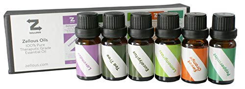 Aromatherapy Top 6 Essential Oils - 100% Pure & Therapeutic Grade (Lavender, Sweet Orange, Eucalyptus, Peppermint, Tea Tree, Lemongrass)