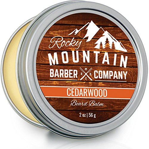 Beard Balm - Rocky Mountain Barber - 100% Natural - Premium Wax Blend with Cedarwood Scent, Nutrient Rich Bees Wax, Jojoba, Tea Tree, Coconut Oil