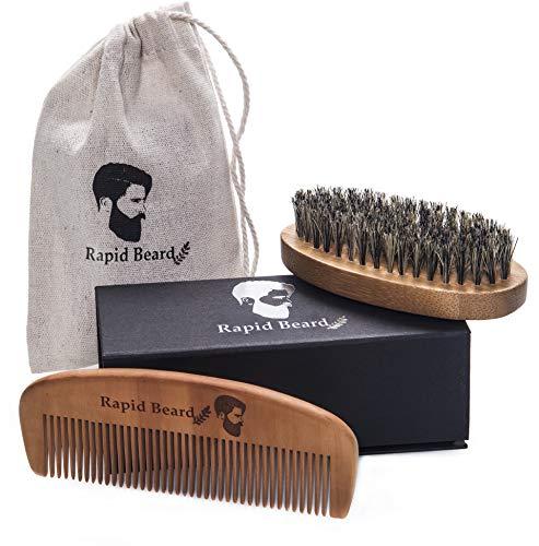 Beard Brush and Beard Comb kit for Men Grooming, Styling & Shaping - Handmade Wooden Comb and Natural Boar Bristle Beard Brush Gift Set for Men Beard & Mustache Care Gift Set