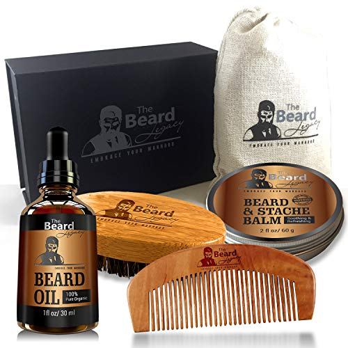 Beard Grooming for Men Care - Beard Brush, Beard Comb, Unscented Beard Oil Leave-in Conditioner, Mustache & Beard Balm Butter Wax, Shaping & Growth Gift Set
