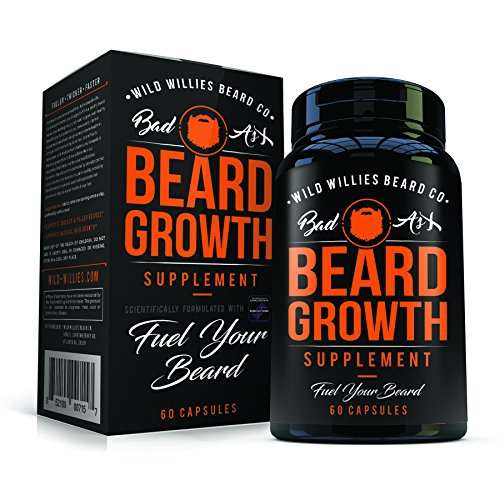 Beard Growth Vitamins for Men – Naturally Powerful, Full, Thick, Masculine Facial Hair Growth Vitamins for Men by Wild Willies - Hormone Free, All Natural, w/19 Potent, Pure Vitamins & Biotin