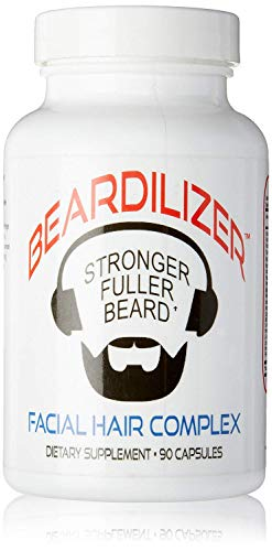 Beardilizer Facial Hair Growth Complex for Men, 90 Capsules