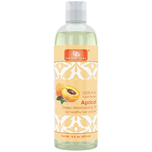 Beauty Aura Apricot Oil (Cold Pressed) - 16 fl oz (473 ml) - for Healthy Hair, Skin & Nails