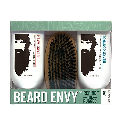 Billy Jealousy Beard Envy - Beard Refining Kit - Beard Wash, Beard Control and Boar Bristle Brush