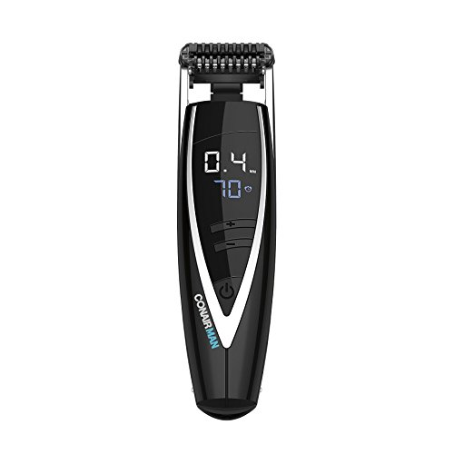 ConairMAN Super Stubble Ultimate Flexhead Trimmer; Razor-Sharp Etched Blade Technology with Pivoting Flex Head; 15 Digital Settings ranging from 0.4mm to 5.0mm; Black - Wet/Dry + Lithium Ion Powered