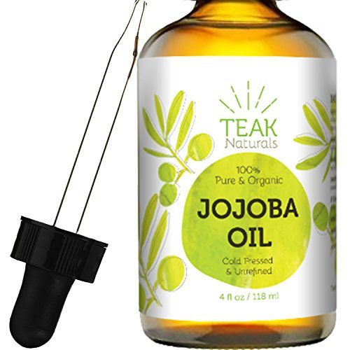 JOJOBA Oil by Teak Naturals, 100% Pure Cold Pressed Natural Unrefined Moisturizer for Skin Hair and Nails 4 oz