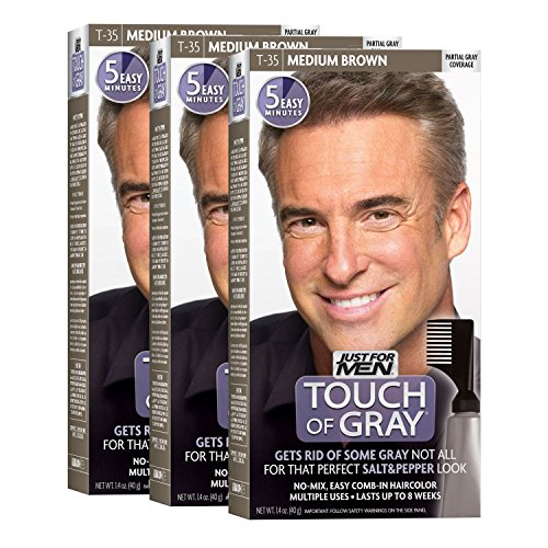 Just For Men Touch of Gray, Gray Hair Coloring for Men with Comb Applicator, Great for a Salt and Pepper Look - Medium Brown, T-35 - Pack of 3