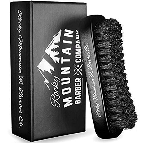 Men's Hair Brush- 100% Pure Black Boar Hair Natural Bristle for Beard, Moustache - Firm Military Style with Handmade Wood Handle – No Snags, No Scratch, Gentle Bristle – Use with Beard Oil