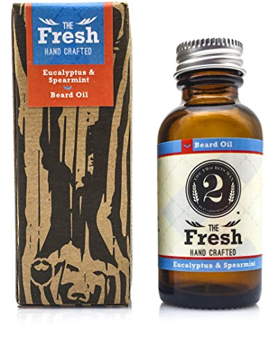 "Mens Natural Beard Oil: The 2 Bits Man""The Fresh"" Beard and Facial Hair Treatment - Anti Itch and Anti Dandruff Healthy Beard Grooming Oils with Eucalyptus and Spearmint Scent - 1 Ounce"
