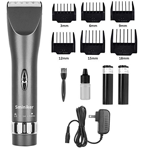 Sminiker Professional Hair Clippers Cordless Haircut Machine Barber Shavers Rechargeable Hair Cutting Tools with 2 Batteries, 4 Comb, Guides – Grey