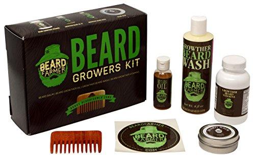 Ultimate Beard Growth Kit - Faster Growth with Beard Farmer Beard Gift Set - Beard Kit Includes: All Natural Beard Oil, Beard Vitamins, Beard Balm, Beard Shampoo, Beard Comb