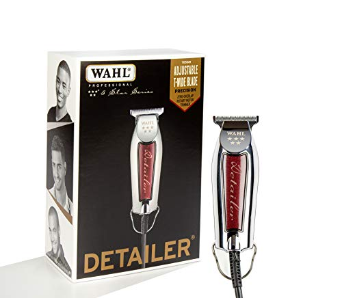 "Wahl Professional Series Detailer #8081 - With Adjustable T-Blade, 3 Trimming Guides (1/16"" - 3/16""), Red Blade Guard, Oil, Cleaning Brush and Operating Instructions, 5-Inch"