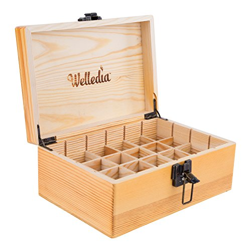 Welledia AromaStorage Essential Oil Wooden Box, Large, Fits 24 x 5-30ML Bottles - Customizable Dividers + Metal Clasp - Elegant Wooden Look, Impressive Home Décor - Travel Safe, Lightweight & Compact